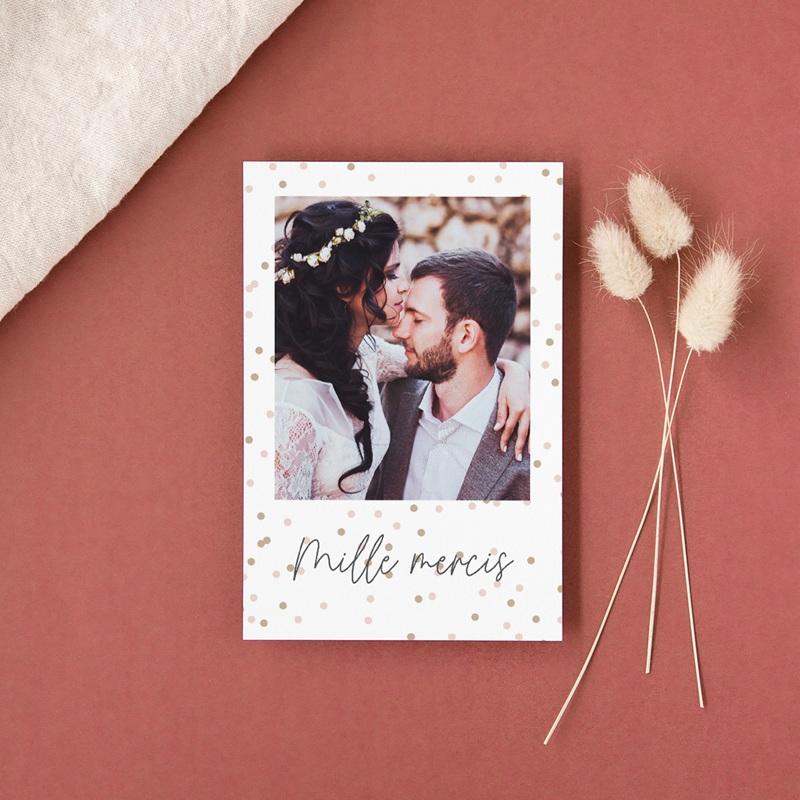 Carte de remerciement mariage Pretty Confettis gratuit