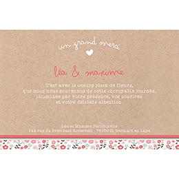 Carte de remerciement mariage Liberty  gratuit