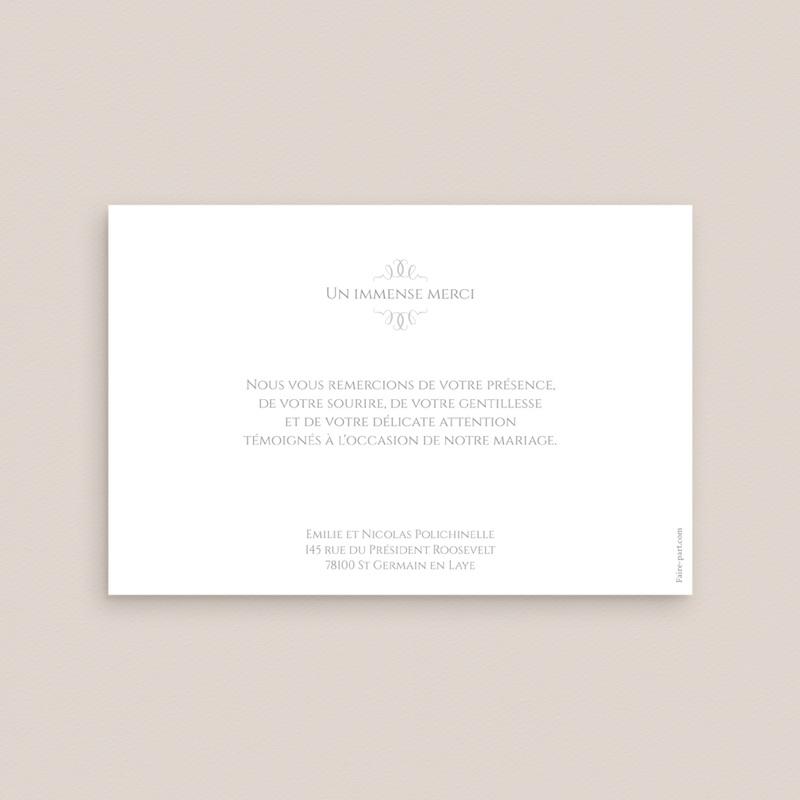 Carte de remerciement mariage Letter Press gris - Rectangle simple pas cher