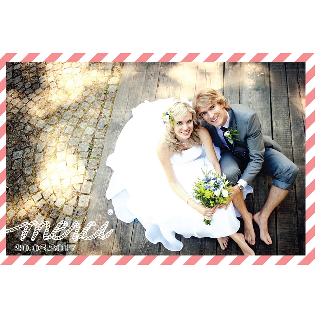 Carte de remerciement mariage Navy Corail  pas cher