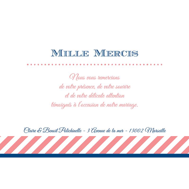 Carte de remerciement mariage Navy Corail  gratuit