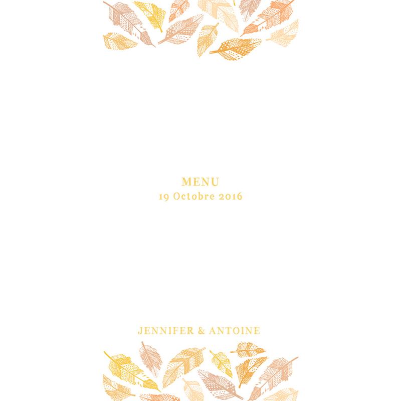 Menu mariage Vent d'automne  pas cher
