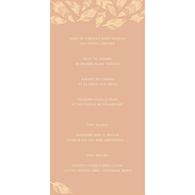 Menu mariage Vent d'automne  gratuit
