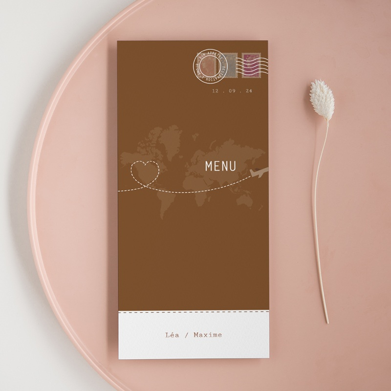 Menu mariage Voyage chocolat - Menu simple