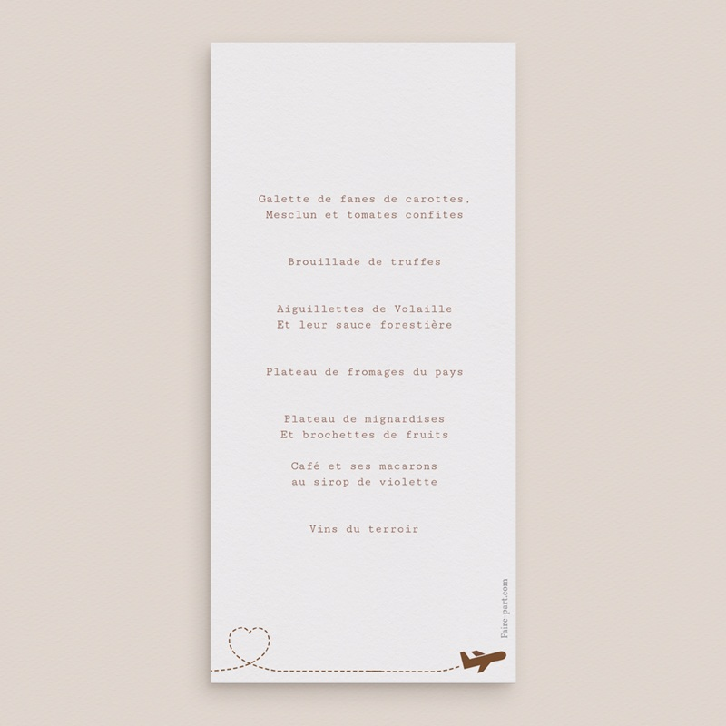 Menu mariage Voyage chocolat - Menu simple pas cher