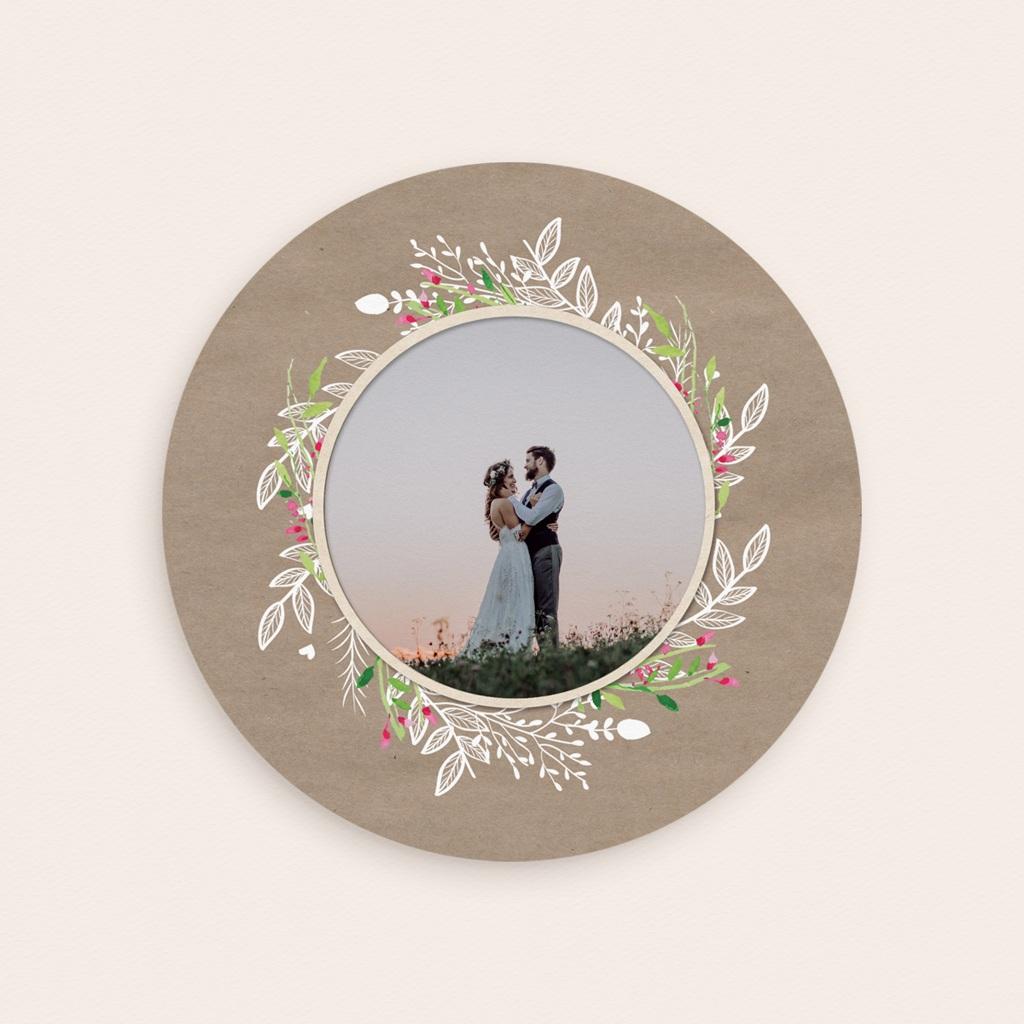 Carte de remerciement mariage Bohemian Kraft - Rond simple gratuit