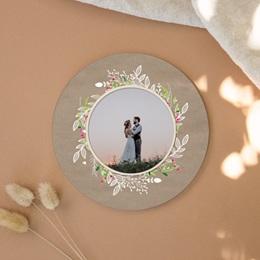 Carte de remerciement mariage Bohemian Kraft - Rond simple