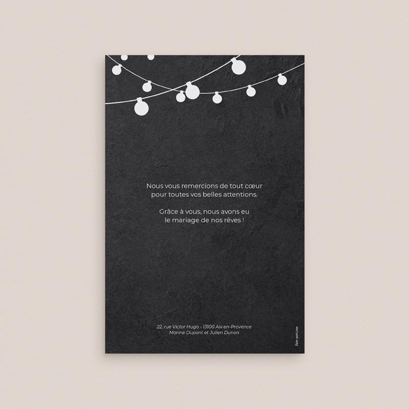 Carte de remerciement mariage Guinguette Ardoise - Rectangle simple vertical pas cher