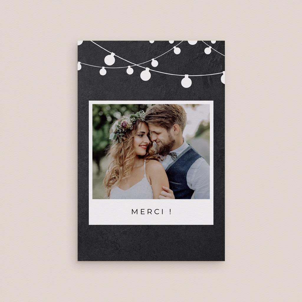 Carte de remerciement mariage Guinguette Ardoise - Rectangle simple vertical