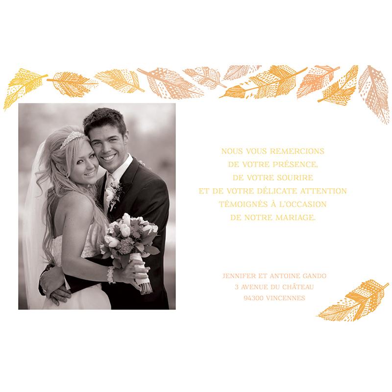 Carte de remerciement mariage Vent d'automne  gratuit