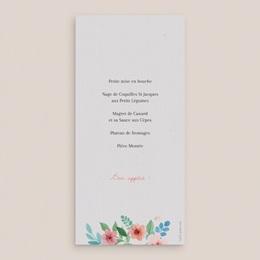 Menu mariage Nature Aquarelle, simple volet pas cher