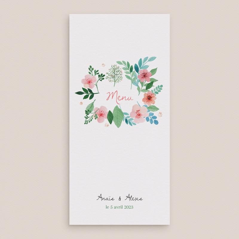 Menu mariage Nature Aquarelle, simple volet gratuit