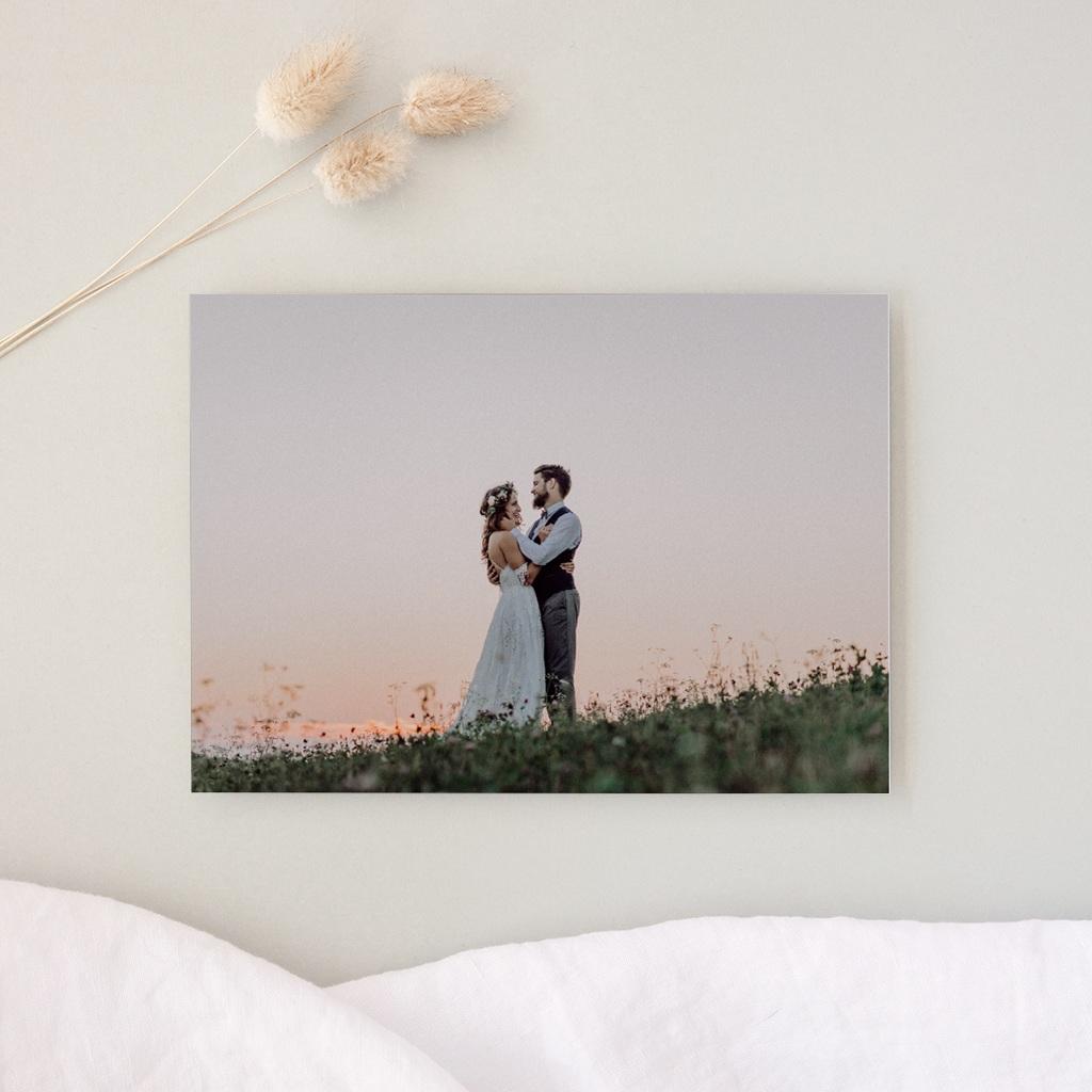 Carte de remerciement mariage Un jour d'amour bleu argent - Rectangle simple