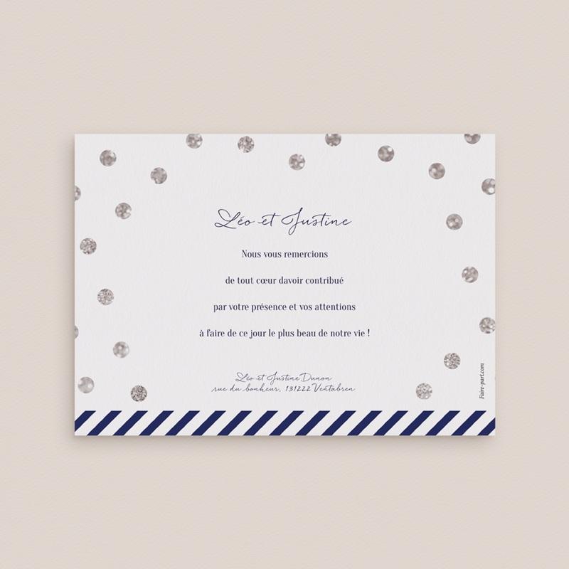 Carte de remerciement mariage Un jour d'amour bleu argent - Rectangle simple pas cher