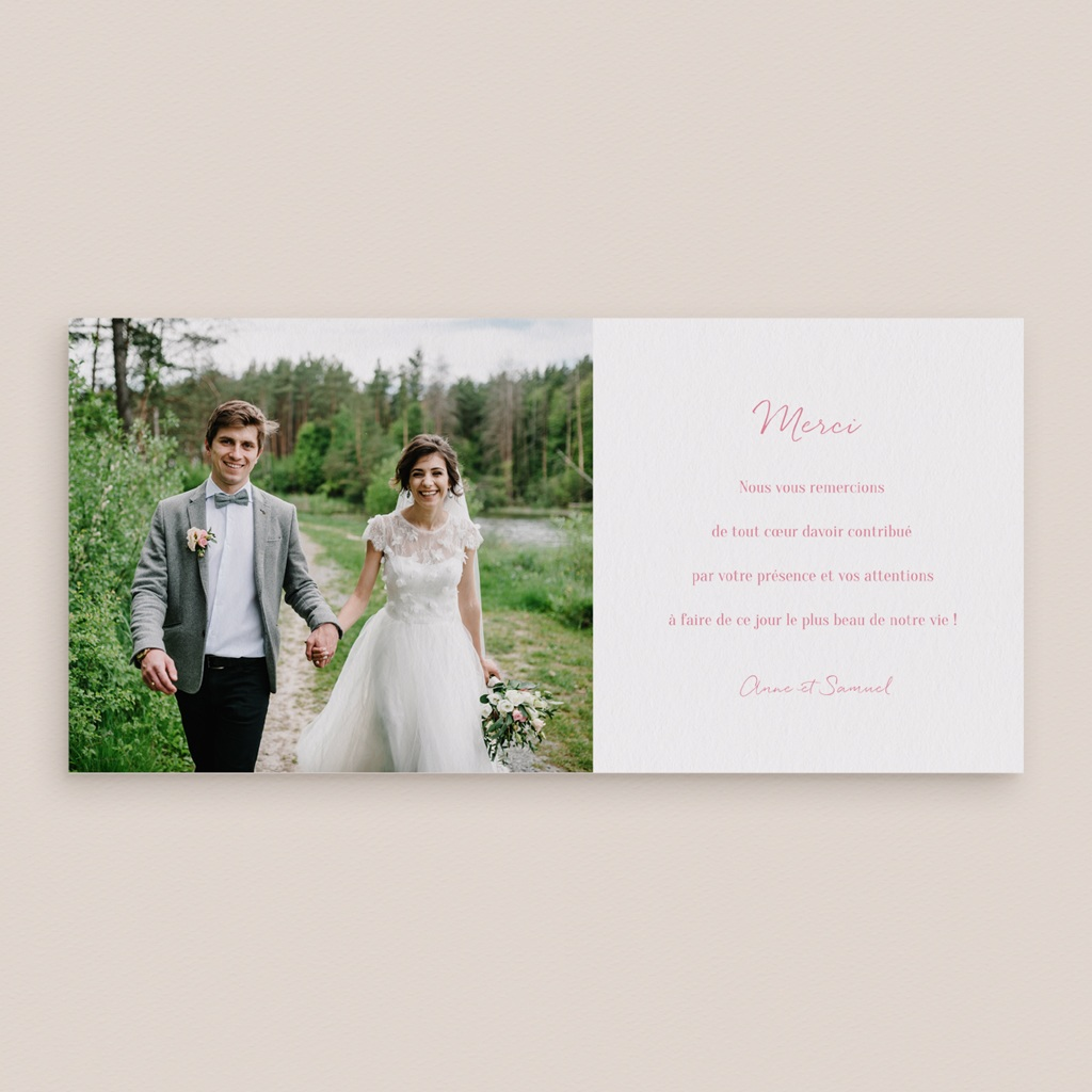 Carte de remerciement mariage Il était une fois gris - Panoramique simple pas cher