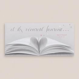 Carte de remerciement mariage Il était une fois gris - Panoramique simple gratuit