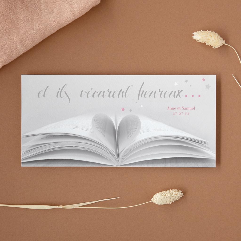 Carte de remerciement mariage Il était une fois gris - Panoramique simple