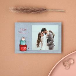 Carte de remerciement mariage Tendre espièglerie gris vert - Rectangle simple