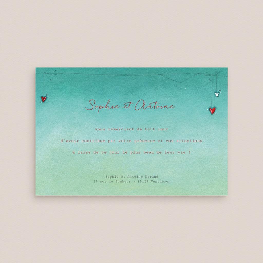 Carte de remerciement mariage Tendre espièglerie gris vert - Rectangle simple pas cher