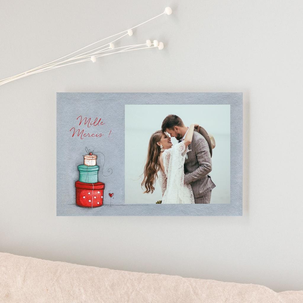 Carte de remerciement mariage Tendre espièglerie gris vert - Rectangle simple gratuit