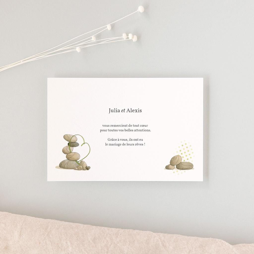Carte de remerciement mariage Zen - Rectangle simple gratuit