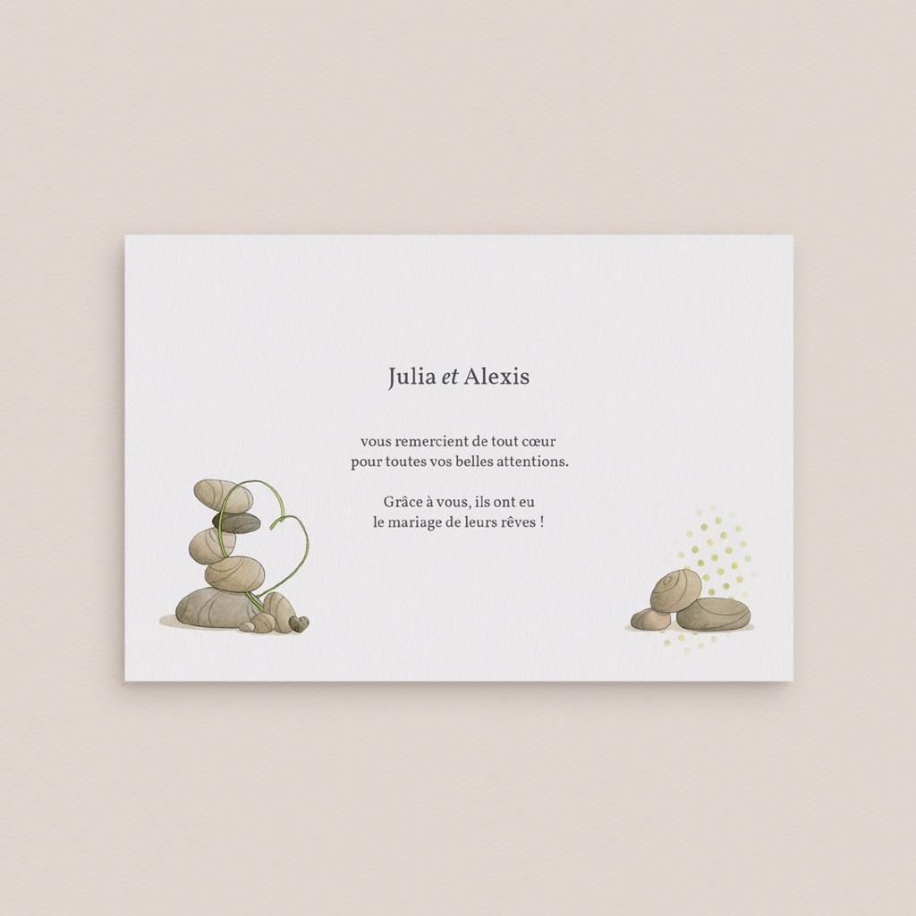Carte de remerciement mariage Zen - Rectangle simple
