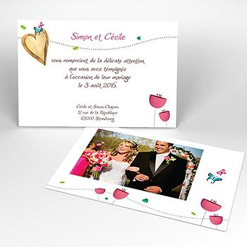 Carte de remerciement mariage Bucolique