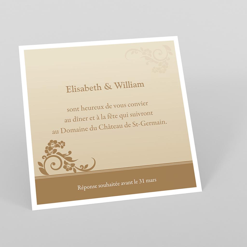 Carte d'invitation mariage Cérémonie doré