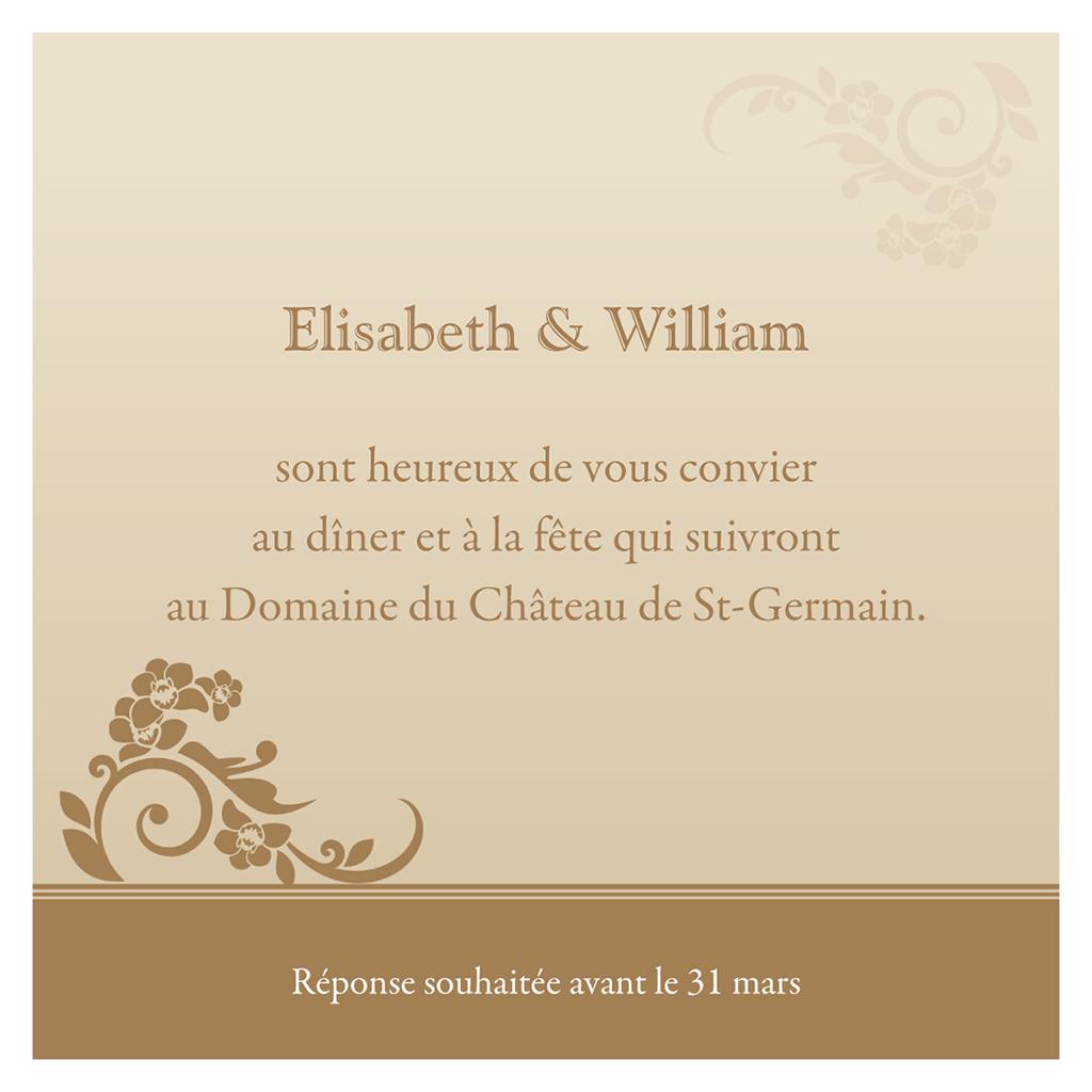 Carte d'invitation mariage Cérémonie doré pas cher
