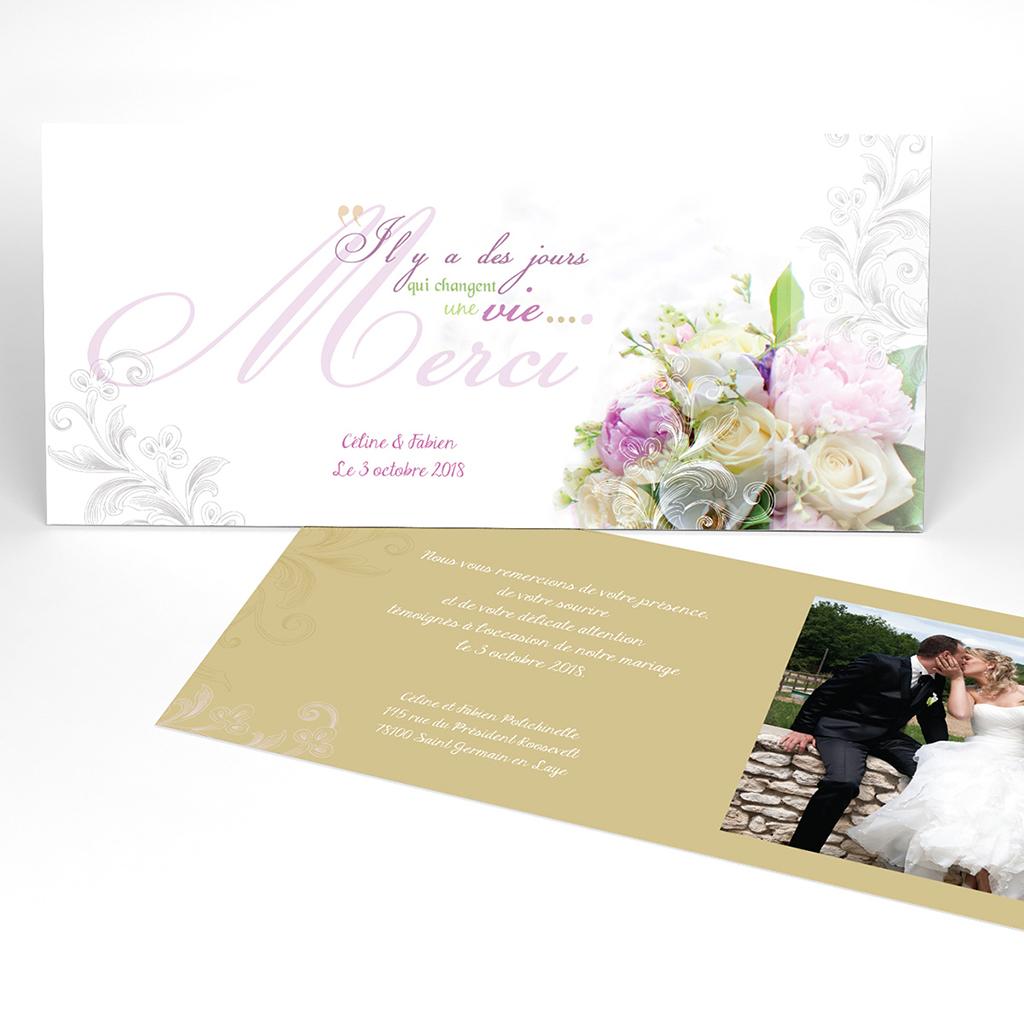 Carte de remerciement mariage Eternité
