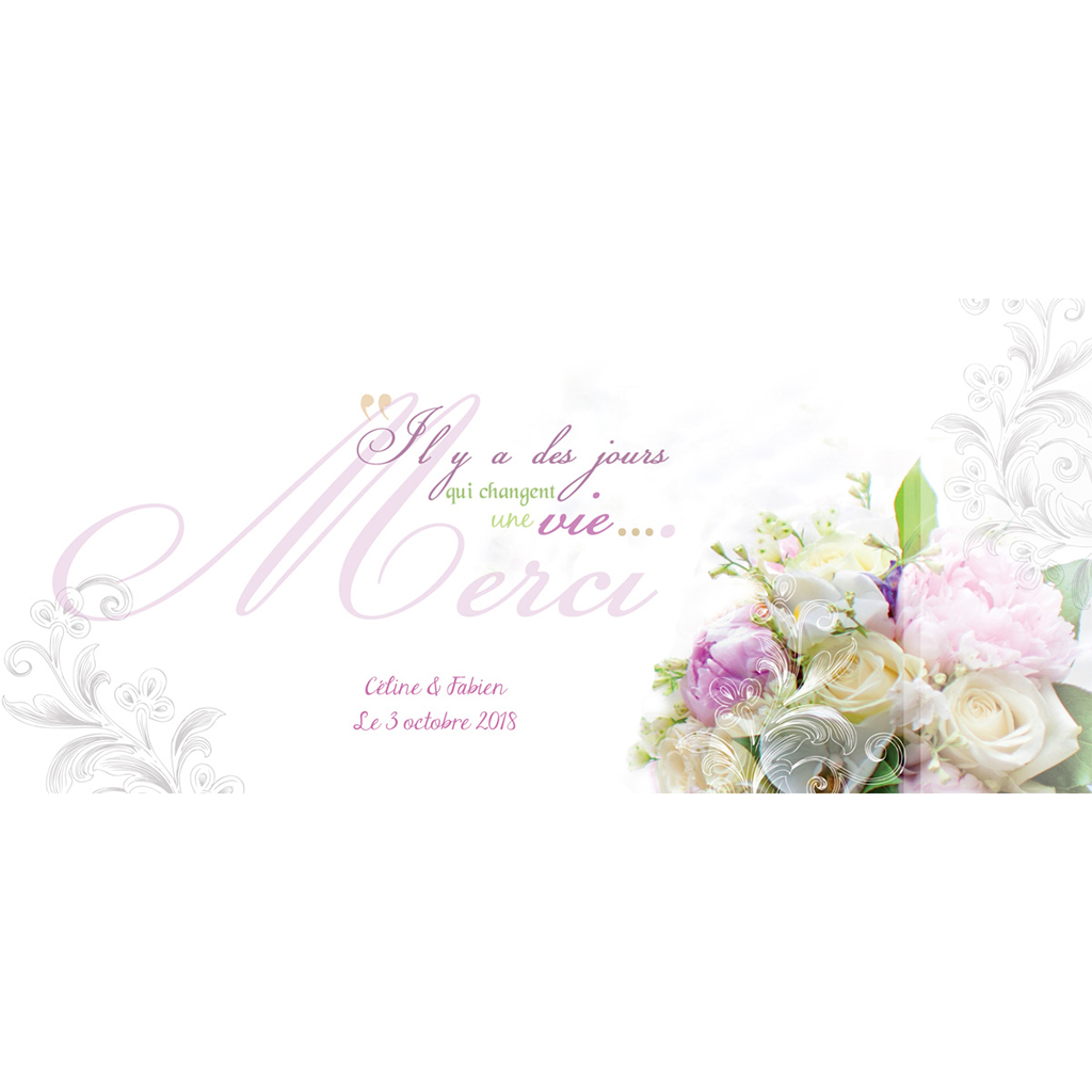 Carte de remerciement mariage Eternité  pas cher