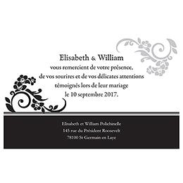 Carte de remerciement mariage Cérémonie noir pas cher