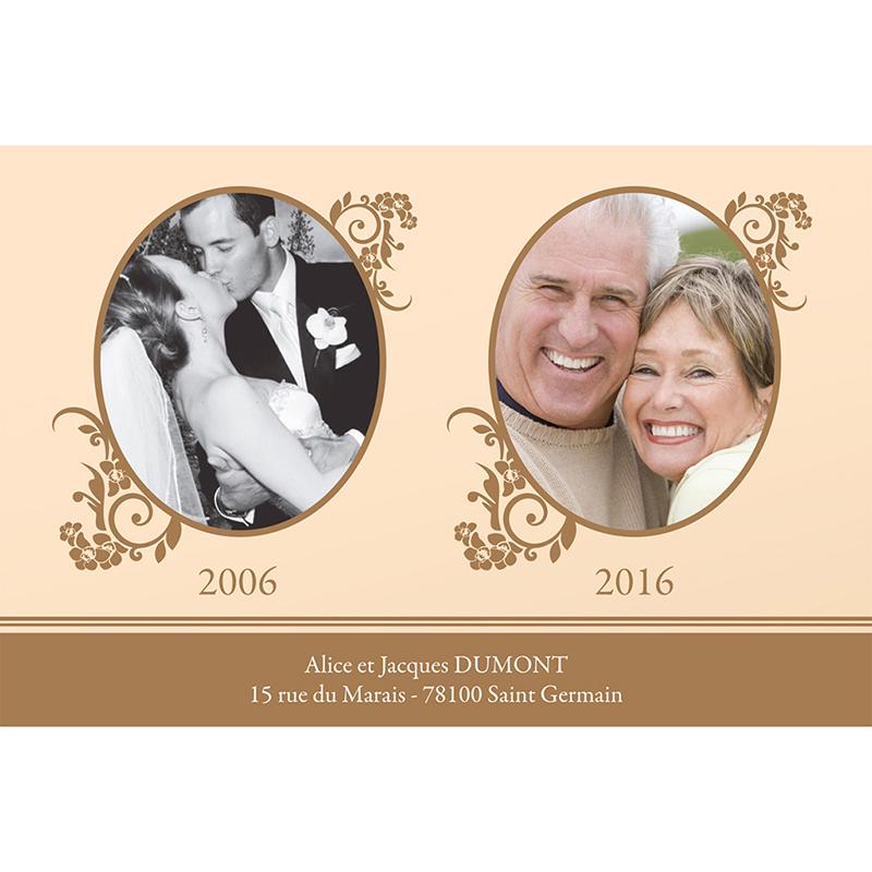 Carte anniversaire de mariage Cérémonie doré gratuit