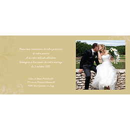 Carte de remerciement mariage Eternité  gratuit