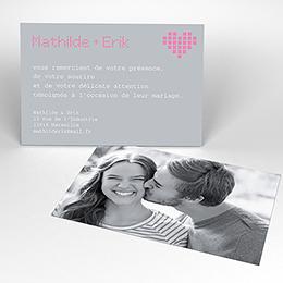 Carte de remerciement mariage Love.com