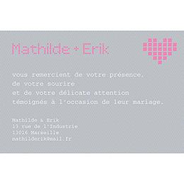 Carte de remerciement mariage Love.com  pas cher