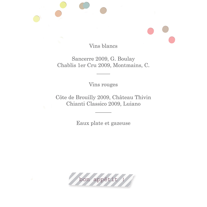 Menu mariage Confettis  gratuit