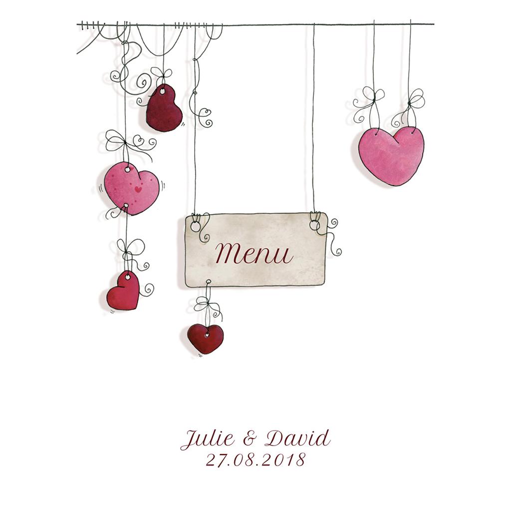 Menu mariage Les Coeurs coeur pas cher
