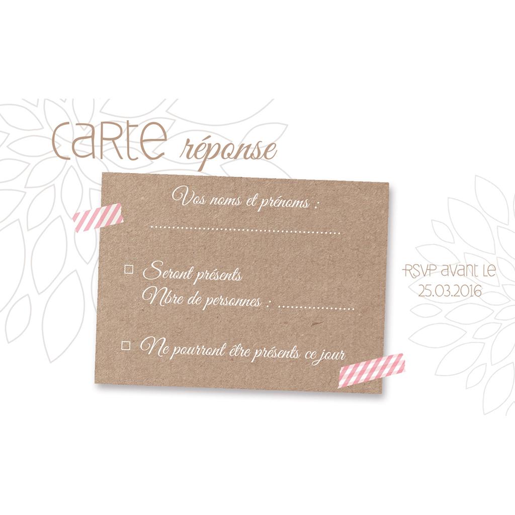 Carton réponse mariage Bois de Rose  pas cher
