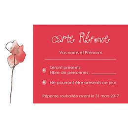 Carton réponse mariage Coquelicots  pas cher