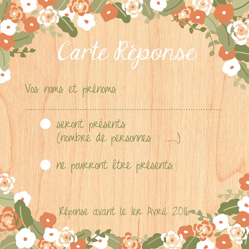 Carton réponse mariage Authentique  pas cher