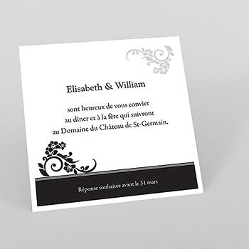 Carte d'invitation mariage Cérémonie noir