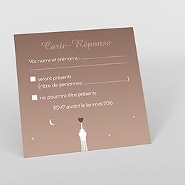 Carton réponse mariage Paris sépia