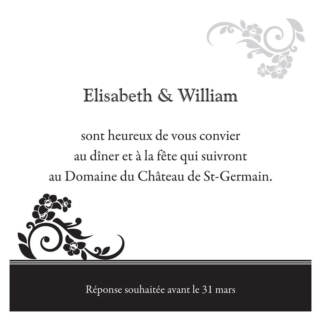 Carte d'invitation mariage Cérémonie noir pas cher