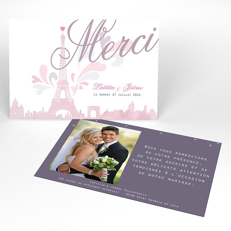 Carte de remerciement mariage Paris violine