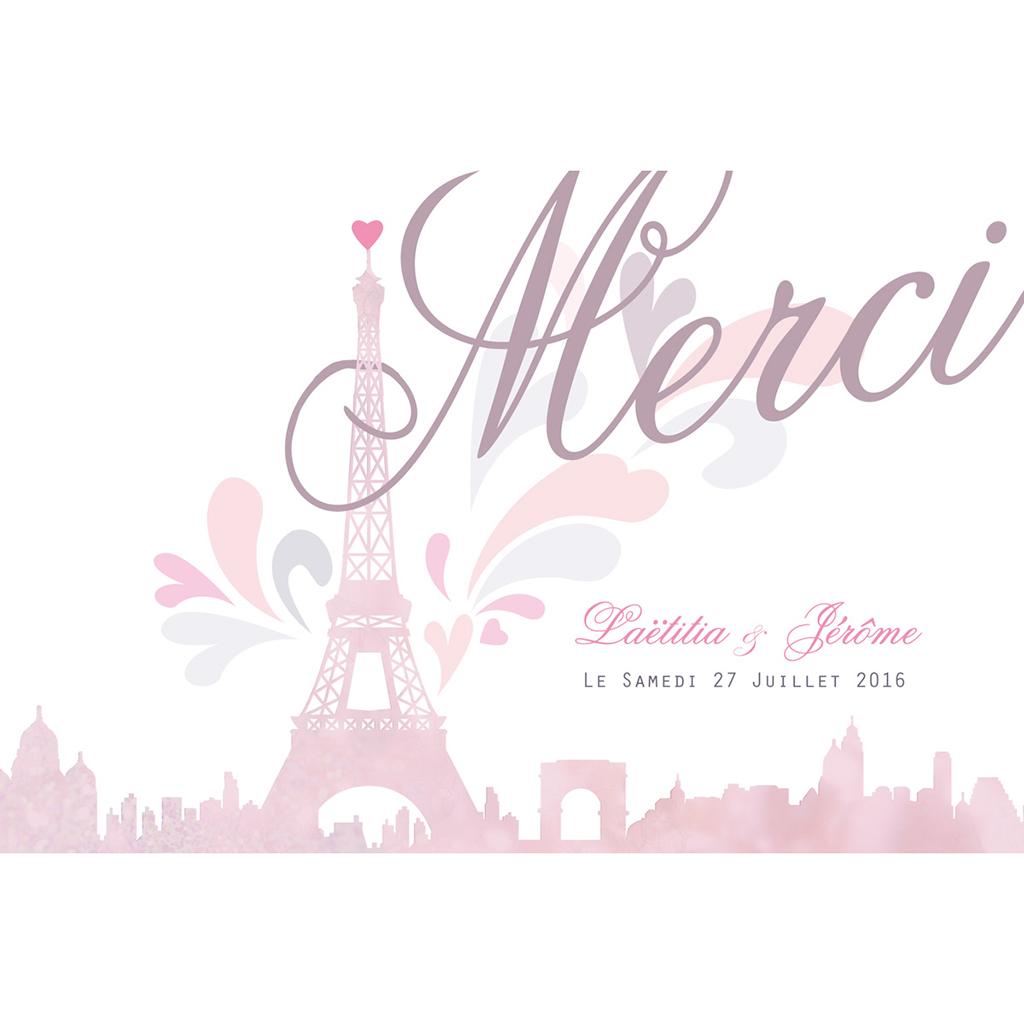 Carte de remerciement mariage Paris violine pas cher