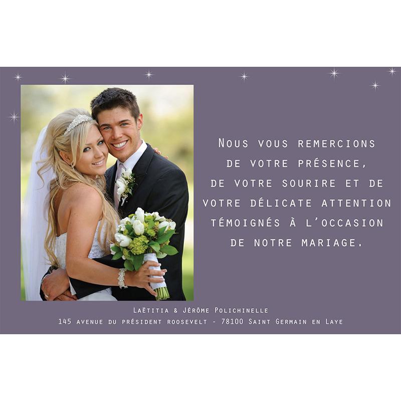 Carte de remerciement mariage Paris violine gratuit