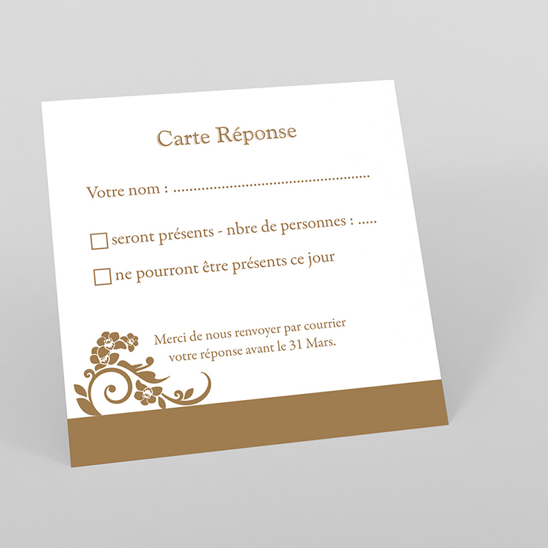 Carton réponse mariage Cérémonie doré