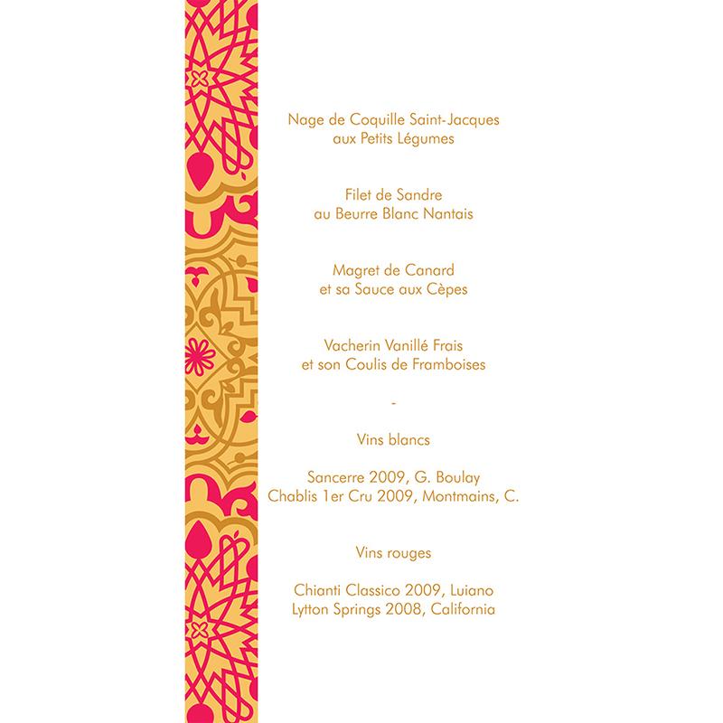 Menu mariage Mauresque rose jaune gratuit