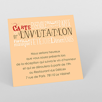 Carte d'invitation mariage Jeu de mots chocolat